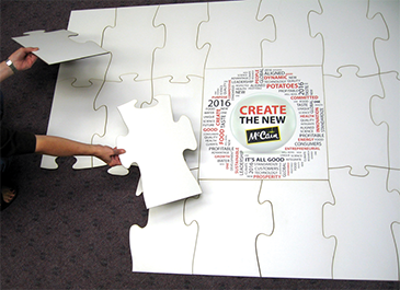 Writable surface puzzle for creative team building