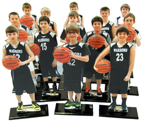 Photo Cutouts of basket ball team, cut out, cut outs, cutout, cut-outs, cutouts